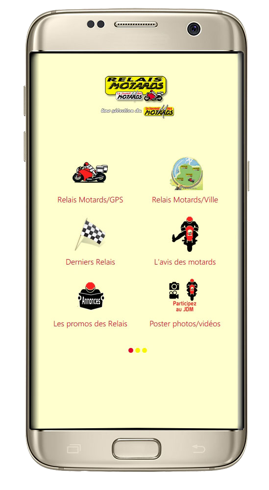 application relais motards menu